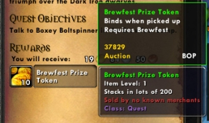 brewfest token wow world of warcraft pet battles