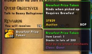 brewfest token wow world of warcraft pet battles