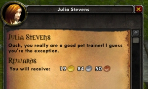 julia stevens quest wow world of warcraft battle pet