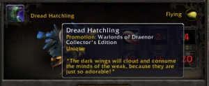 dread hatchling wow world of warcraft collectors edition PTR